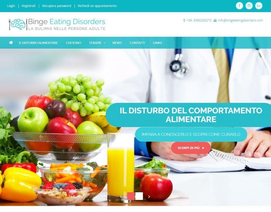Homepage sito web Binge Eating Disorders