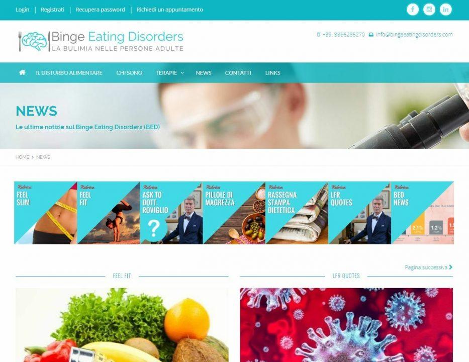 """Modifiche sezione """"News"""" per Binge Eating Disorders."""