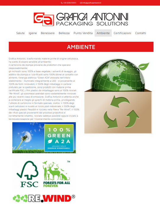 Nuova sezione Ambiente sito Grafica Antonini