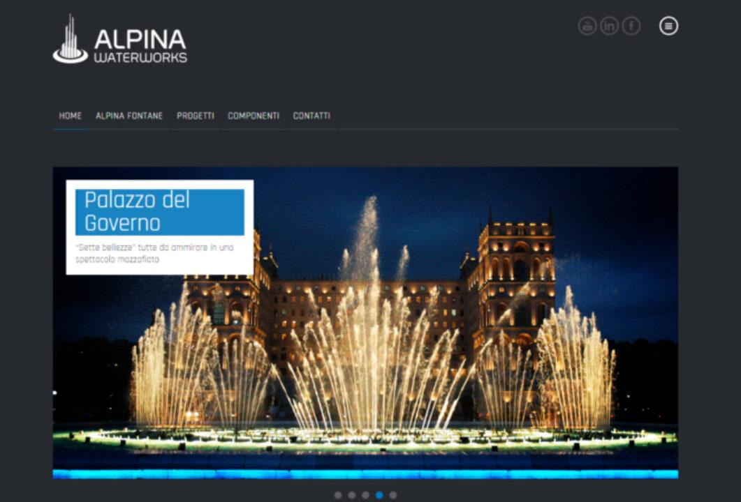 Homepage del sito web per Alpina Fontane